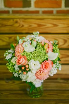 Coral bouquet with lime green