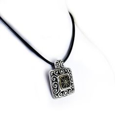 Sun Necklace Leather Necklace Antique Silver by sunnybeadsbythesea