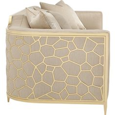 Shatter Modern Classic Beige Upholstered Gold Metal Wrapped Bench... ($5,286) ❤ liked on Polyvore featuring home, furniture, sofas, ivory sofa, beige couch, cream fabric sofa, cream sofa and cream colored sofa