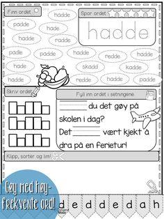 Arbeid med høyfrekvente ord på norsk, både bokmål og nynorsk. Flotte arbeidsark som gir mengdetrening med 13 ulike oppgaver - og noen herlige illustrasjoner!