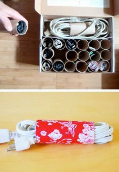 Repurpose paper towel & TP tubes into instant cord & cable organizers! ~Budget101  http://www.budget101.com/frugal/tips-tricks-118/
