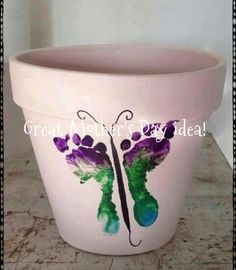 Butterfly footprints on a pot