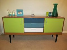 Upcycled Retro Schreiber sideboard Mcm Furniture, Decoupage Furniture, Sideboard Furniture, Furniture Upholstery, Paint Furniture, Upcycled Furniture, Furniture Projects, Furniture Makeover, Vintage Furniture
