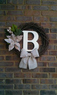 Christmas Winter Wreath Poinsettia Outdoor Wreath Custom Monogram Grapevine Wreath with Chevron Burlap Bow on Etsy, $48.00