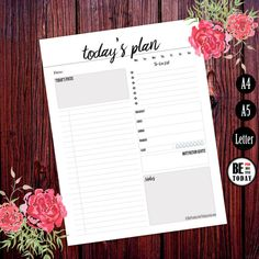 A5 Planner Inserts, Daily Planner Printable, 2016 Daily Planner, Schedule, Agenda Page, A4 Filofax Insert, Weekly, Daily To Do List, Kikki K