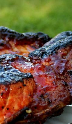 Smokey Honey BBQ Pork Ribs Recipe ~  The sugars in the marinade make the outsides get crispy and dark, but don\u2019t you worry. The inside is super juicy and tender and flavorful and full of heavenly delight.