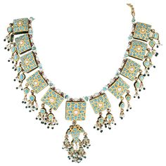 Indian Mughal-Style Enamel Turquoise Pearl Gold Necklace | From a unique collection of vintage more necklaces at https://www.1stdibs.com/jewelry/necklaces/more-necklaces/