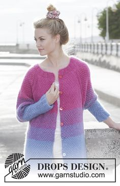 Knitted jacket with raglan, stripes and moss stitch (double vertically), worked top down. Size: S - XXXL Piece is knitted in 3 strands DROPS Kid-Silk.