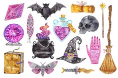 you are officially invited to explore the mystical forest w.om, our complete license comes included, at no extra cost. Halloween Illustration, Creative Illustration, Graphic Illustration, Halloween Clipart, Halloween Stickers, Magic Sets, Kawaii Tattoo, Mystical Forest, Printable Planner Stickers