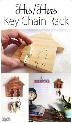 His and Hers Key Chain Holder #keyrack ...using a scroll saw! {Reality Daydream}