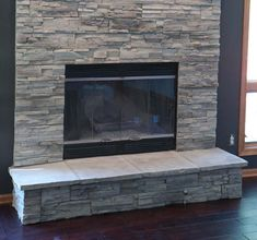 Ledge Stone Fireplace Stone veneer applied directly over brick