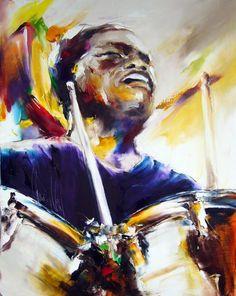 armée jazz batteur/AngelaKing Gallery - Peinture,  73x91 cm ©2011 par Christian Vey -
