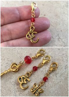 Handcrafted clip on Charms. Zipper Pull Charms. Keychain Charm. Gold Key. Gold Om. Gold Butterfly. Love Token. GZPC1