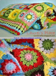 Grandma's Knickknacks, free pattern by Laurel of Laurel's Place . Crochet Bedspread, Crochet Quilt, Crochet Blocks, Crochet Mandala, Crochet Squares, Love Crochet, Granny Squares, Crochet Granny, Crotchet Patterns