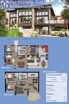 Architectural Designs Modern House Plan 90310PD gives you two beds on the main level and just over 1,200 square feet of heated living space, and two more in the lower level. Walls of glass and an L-shaped balcony help bring in the outdoors. Ready when you are. Where do YOU want to build?