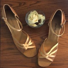 """NWOB Satin Dance Shoes  Gorgeous Dance Shoes. Gold Satin. Heel Height 2.5"""" Approx. Mesh Upper. Suede Sole. Perfect Condition. Never Worn. True to Size. Great for Salsa or Ballroom. Shoes"""