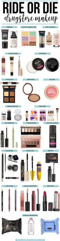 Are you in need of an updated makeup routine? Check out the Ride or Die Makeup products this blogger loves! Get started on your way to a new drugstore makeup kit. Drugstore Makeup Products, Cheap Makeup Products, Make Up Dupes Drugstore, Drugstore Primer, Drugstore Highlighter, Maybelline Makeup Kit, Makeup Tutorial Drugstore, Diy Makeup Kit, Cheap Highlighter Makeup