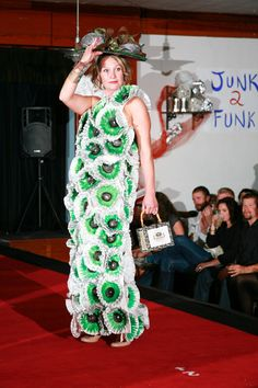 """""""Coffee Couture"""" by Natalie Hamm, model Melissa Simpson. Made of coffee filters, candy wrappers, recycled rhinestones. Featured in the 2012 Junk2Funk Eco-Fashion show, a benefit of the Kootenai Environmental Alliance that showcases the runway outfits made from recycled materials by local artists."""