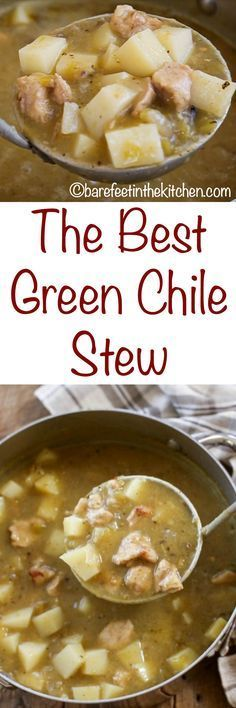 Outstanding Green Chile Stew made with pork and potatoes is a classic New Mexico favorite! Get the recipe at barefeetinthekitc… The post Green Chile Stew made with pork and potatoes is a classi . Pork Recipes, Slow Cooker Recipes, New Recipes, Cooking Recipes, Favorite Recipes, Easy Recipes, Vegan Recipes, Recipies, Paleo Meals