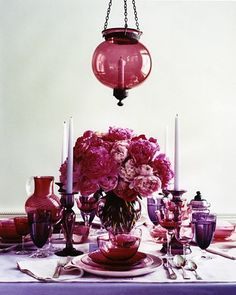 obsessed with the tableware - tone on tone jewel hues .. .