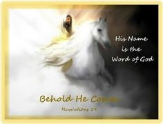 """I❤️️️️Jesus ~ """"Look, He is coming with the clouds,"""" and """"every eye will see him"""" ~ Revelation King Jesus, Jesus Is Lord, Revelation 19, Jesus Christus, Jesus Is Coming, Prophetic Art, Jesus Pictures, Scripture Pictures, Horse Pictures"""