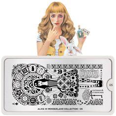 Alice in Wonderland Nail Art, Stamping Plate Design Alice In Wonderland Nails, Adventures In Wonderland, Nail Art Stamping Plates, Nail Plate, Nail Art Images, Image Plate, Latest Nail Art, Plate Design, Nail Art Designs