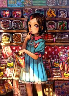 This is cute. A lil anime girl in a candy shop. She is a real cutie.