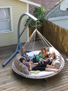 "Forget a hammock!  I want one of these!  (especially when my kids and dogs are around and want to climb up with me!) Indoor/Outdoor Floating Bed Package  Floating Bed, fabric covered hoop pad, memory foam mattress and cover, ceiling hardware kit  Double - 6' 6"" diameter: $3795.00     Queen - 7' 4"" diameter: $3995.00     King - 8' diameter: $4495.00"