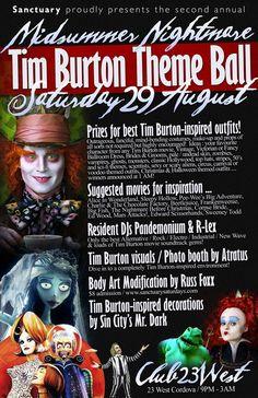 Tim Burton Theme Ball tonight This Flyer screams April and Ricky's wedding