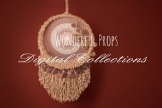 Wonderful Props - Brown and Red Dream Catcher - Digital Backdrop - Photo Prop for Newborn Photography