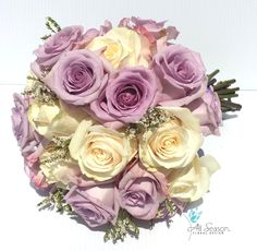 Traditional lavender white rose bouquet