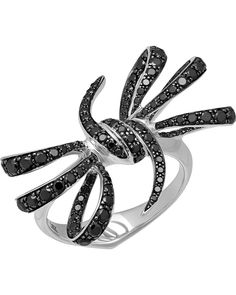 ShopWorn™ STEPHEN WEBSTER - 'Forget Me Knot' 18K White Gold (7.57gm) ring, set with pave Black Diamond (128pc/1.46ct). Black rhodium plated. Total weight 7.86gm. - 3014592001 Retail $5,500.00