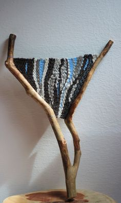 """Branch weaving """"Waves in the sky"""" - wallhanging made with cotton and handspun wool yarn available on our Etsy store Weaving Wall Hanging, Weaving Art, Tapestry Weaving, Loom Weaving, Crafts For Girls, Arts And Crafts, Tree Tapestry, Bedroom Crafts, Stick Art"""