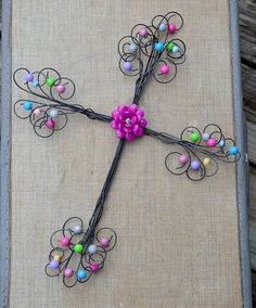 Wall Cross, Whimsical wire cross with decorative flower and beads, Great Christmas Gift by TinaMeadowsDesigns on Etsy