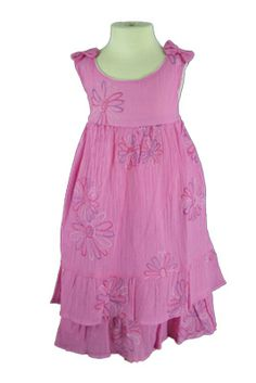 Gabriella Girls Dress - Cute casual girls tankdress has a subtle flower pattern. This dress has an empire waist and a tiered skirt with a removeable bow on each shoulder. Great for summer and spring parties!