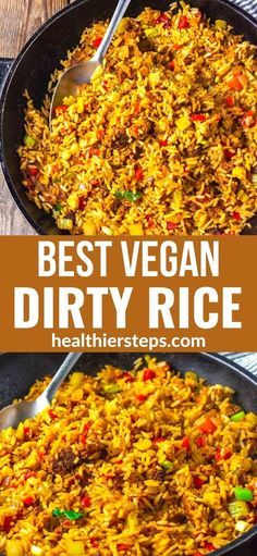 A flavorful take on the classic Southern comfort dish, vegan dirty rice recipe is definitely a must try! Cooked vegan ground protein, rice seasoned with onion, celery, bell peppers, and Creole seasoning.