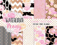 WATERCOLOR FLORAL Digital Paper Pack Black White Pink & Rose Gold Commercial Use Background Peony Stripe Cottage Chic Floral…