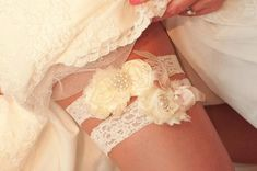 Vintage Bridal Garter Wedding Garter Set Toss by nanarosedesigns