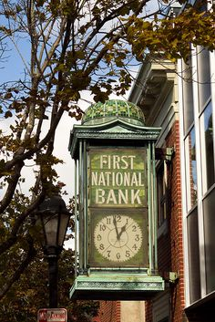 old stained glass bank clock, Bar Harbor by dicegirlsnapz, via Flickr