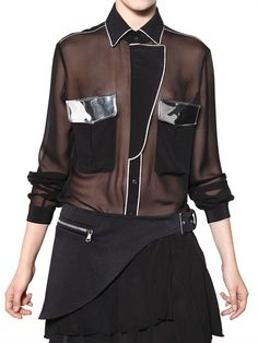 UNIQUENESS - MIRRORED VINYL INSERT SILK CHIFFON SHIRT