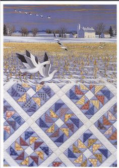 """Flying Geese"" art by Rebecca Barker made into a card. The ""flying Geese"" blocks in matching colours is a great inspiration."
