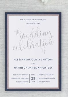Your amazingly beautiful wedding deserves to start with a gorgeous invitation to let your guests know just how elegant it will be. This wedding invitation shows off your style with panel layers in both shimmery dusty rose and shimmery navy. The invitation Wedding Colors, Wedding Styles, Wedding Flowers, Wedding Ideas, Fall Wedding, Wedding List, Wedding Things, Boho Wedding, Wedding Cards