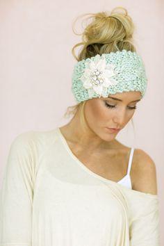 Mint Cable Knitted Headband Jeweled Ear Warmer by ThreeBirdNest