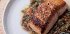 Salmon with Lentils and Olives