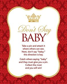 Instant Download Royal Red Don't Say Baby Game by Studio20Designs Baby Games, Baby Shower Games, Baby Shower Parties, Dont Say Baby Game, Royal Baby Showers, Royal Red, Baby Prince, Baby Shower Invitations For Boys, Royal Babies