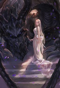 Аниме картинка 544x800 с оригинальное изображение makai no juumin длинные волосы высокое изображение смотрит на зрителя светлые волосы фиолетовые глаза голые плечи чёлка стоя острые уши солнечный свет гора (горы) фэнтези девушка платье украшения для волос бант лепестки дракон