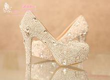 Dfq 2014 strass sapatos de noiva capa sapatos de salto alto cristal de strass sapatos brancos sapatos de casamento plataforma(China (Mainland))