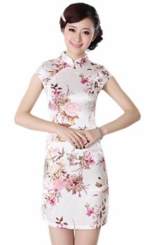 31600dea3 Dan smoke Tang dynasty women's summer new women's Chinese qipao gown ramp  improved collar silk Tang dynasty retro short qipao White M