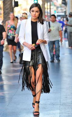 Fringe Fun from Celebrity Street Style  Olivia Culpo is ready to rock-and-roll in this vegan leather skirt from n: PHILANTHROPY.