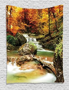 Ambesonne Waterfall Decor Collection Autumn Creek Woods Trees and Foliage Rocks in Forest Picture Bedroom Living Kids Girls Boys Room Dorm Accessories Wall Hanging Tapestry Orange Green Beige ** You can find out more details at the link of the image.
